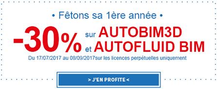 30% de réduction sur AUTOBIM3D et AUTOFLUID BIM